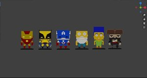 voxel characters 3D model
