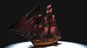 17th century brig 3D