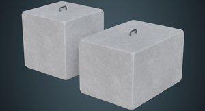 concrete barrier 4a 3D model