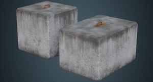 concrete barrier 4b 3D
