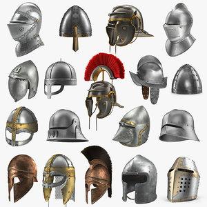 medieval helmets 2 3D model