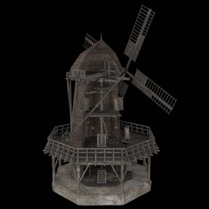 3D old wooden enterable windmill model