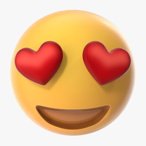 heart eyes emoji 3D model