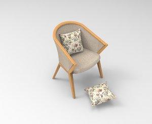 3D model armed single chair