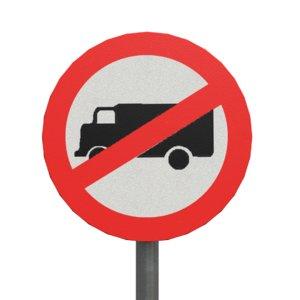 trucks prohibited roadsign 3D model