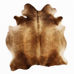 3D wool cowhide rug brown model