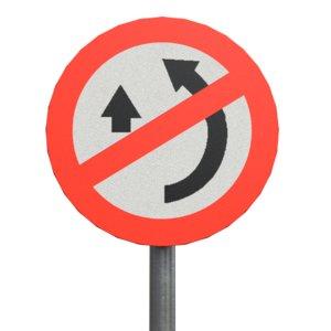 overtaking prohibited roadsign 3D model