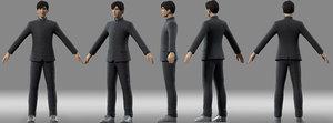 man boy student 3D model