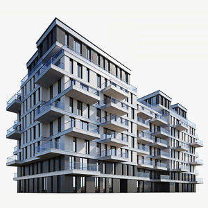 3D modern residential building model