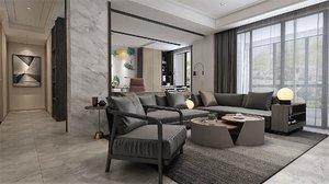 3D model interior living room dining