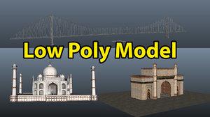 indian landmark india taj mahal 3D model