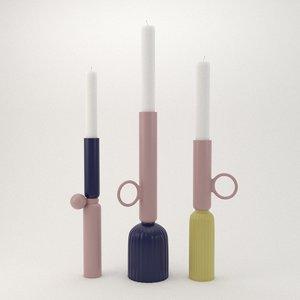 3D candle candleholder holder model