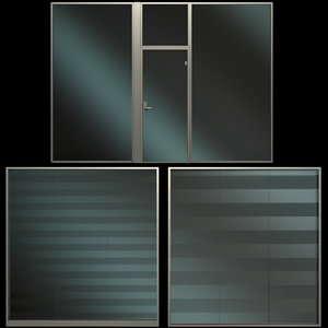 glass partition wall panels 3D