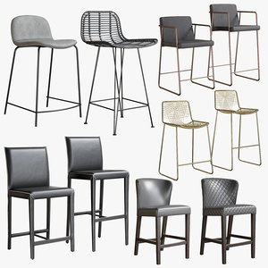 realistic bar stool collections 3D model
