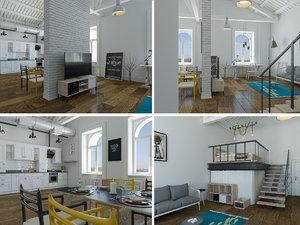 scandinavian loft interior modeled 3D model