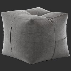 3D model life grey bean bag