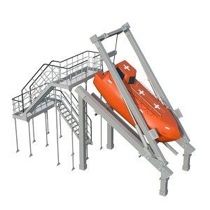 free-fall lifeboat boat 3D model