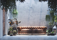 Realistic Courtyard Interior Scene with plants in pots