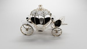 white carriage gold leather 3D model