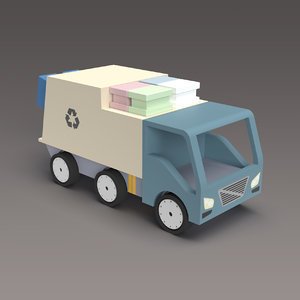 3D model toy garbage truck