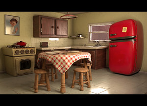 kitchen cartoon toon 3D model