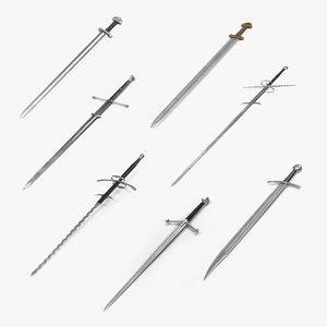 3D medieval swords