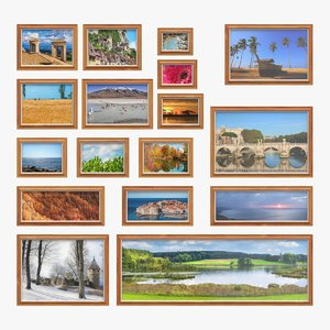 realistic wall picture frames 3D model