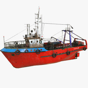 3D model fishing trawler boat pbr