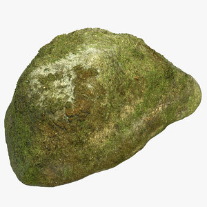 3D mossy rock 04 model
