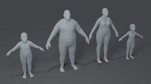 3D fat human body base mesh