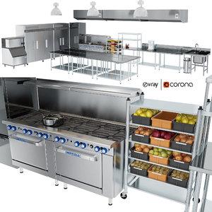 restaurant kitchen equipment utensils 3D model