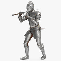 Medieval Knight Plate Armor with Zweihander Rigged for Cinema 4D