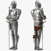 Medieval Knight Plate Armor with Zweihander Rigged for Maya