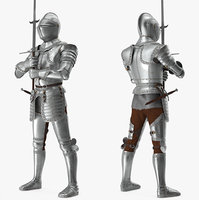 Polished Plate Armor with Zweihander Rigged for Maya