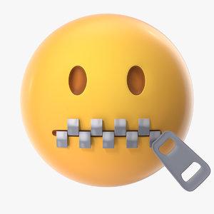 zipper mouth emoji 3D model