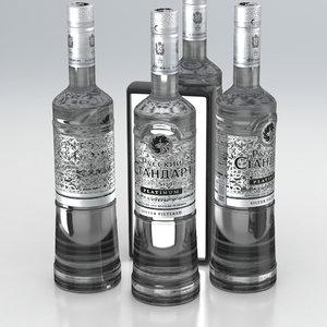 3D alcohol bottle vodka