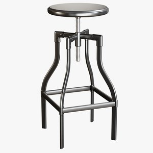 3D realistic backless bar stool
