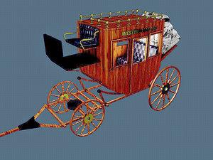 3D western wagon 5 model