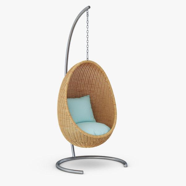 3d Hanging Wicker Chair Turbosquid 1533219