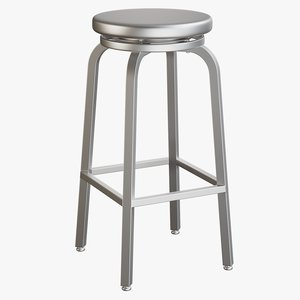 3D model realistic steel bar stool