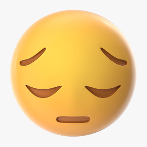 3D sad pensive face emoji