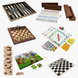 board backgammon chess 3D model