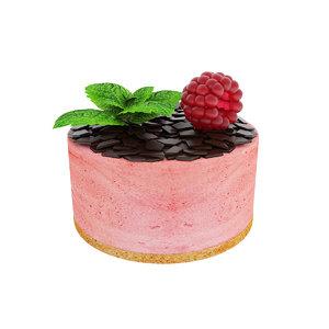 3D raspberry berry cake model
