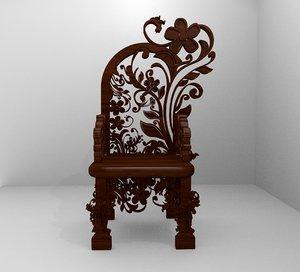 romanesque ornamental chairwoods 3D model