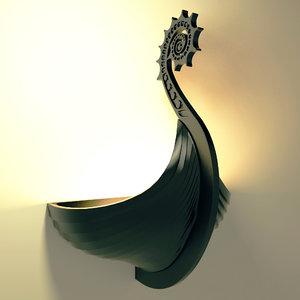 3D drakkar lamp