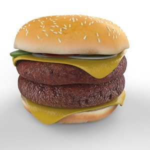 patties double cheeseburger cheese 3D model