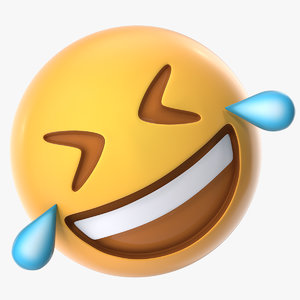 3D rolling floor laughing emoji model