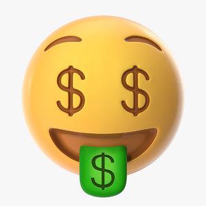 3D model money face emoji