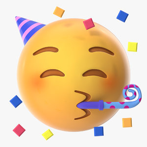 3D party face emoji