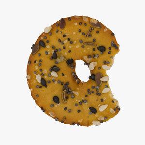 3D baked squeezed pretzel 01 model